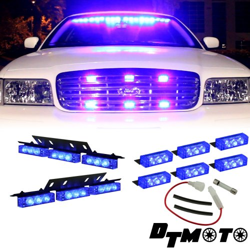 Blue 18X Led Volunteer Firefighter Ems Service Vehicle Deck Dash Grille Warning Light - 1 Set