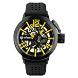 INFANTRY Mens Hand-Wind Mechanical Skeleton Wrist Watch Army Yellow Black Rubber Band #IN-043-Y-R
