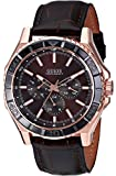 GUESS Men's U0520G1 Sporty Classic Rose Gold-Tone & Brown Multi-Function Watch