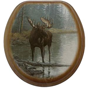 Comfort Seats C1B2R1-723 -17AB Quiet Water Moose Round Oak Toilet Seat, Antique Brass