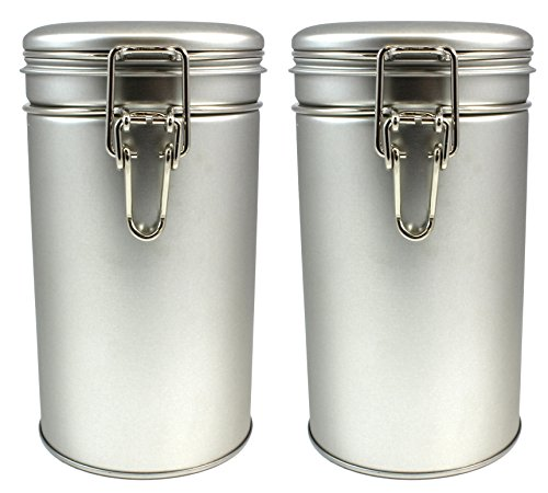 Latching Tea Storage Tin, Coffee Tin, Tea Container, Spice Storage, Latched Lid W/ Rubber Seal, Multi-Purpose Kitchen Storage Container (Set of 2)