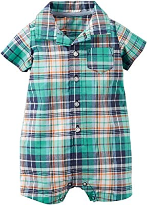 Carters Baby Boys Green Plaid Romper