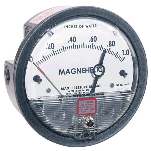 Dwyer Magnehelic Differential Pressure Gage, 2001-ASF, 0-1