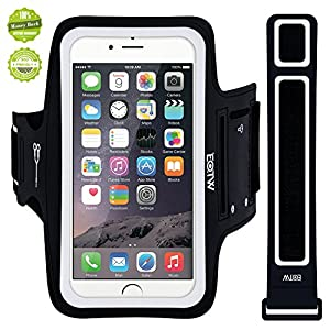 iPhone 6 Armband, EOTW Running Sports Lightweight Armband for iPhone 6/6, Good for Running,Hiking, Walking, Jogging, Gym and Yoga, Sweat-resistant Running Armband Holder with Earphone and Key Slots and Extra Extender-Special Desinged for Sports Lover(Black 4.7inch)