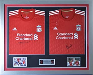 Signed Steven Gerrard & Carragher Liverpool FC Framed Double shirt Display by MemorabiliaOutlet