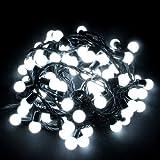 KooPower 100 LED 10M Superbe Guirlande guinguette avec des ampoules(Diamètre: 1,5cm) Blanc Lampe Lumière Eclairage de décoration Pour Noël Fête Marriage Jardin Deco Anniversaire...