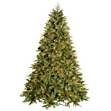 GKI Bethlehem Lighting Medium Green River Spruce Instant Power Pole Technology 7.5ft with 650 Clear Lights