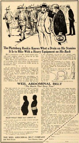 1917 Ad Weil Abdominal Belt Stamina Plattsburg Rookie - Original Print Ad