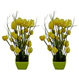 Thefancymart Artificial Tulip Flower Plant With PVC Pot_set Of 2 Style Code-71