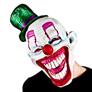 Clown Face Mask Adults Halloween Fancy Dress Mask Spooky Circus Clown + Hat by Wicked
