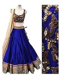 MAHAVIR FASHION Women's Royal Blue Benglori Silk Embroidered In Golden Jari Thread Designer Lehenga Choli (Lehenga_502_B Royal)