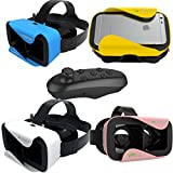 "3D Virtual Reality Headset with Bluetooth Controller,Grandeur 3D VR Glasses Samsung Note 7 Bestseller 3D VR Technology Incredibly Light 3D Goggles Glasses IOS Android 4.7""- 6"" Funky Colours"