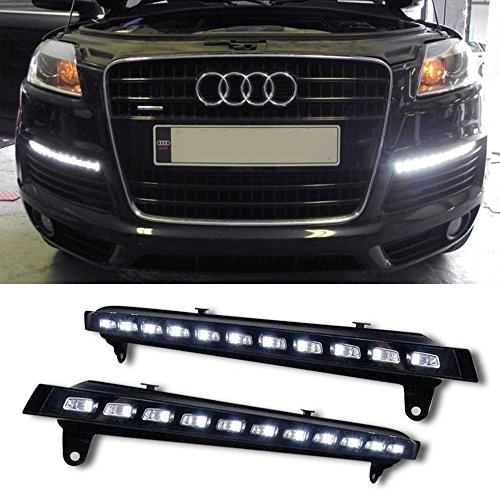 Ijdmtoy® Oem Fit 22-Led Direct Fit Xenon White Led Daytime Running Lights With Amber Led Turn Signal For 2007-2010 Audi Q7