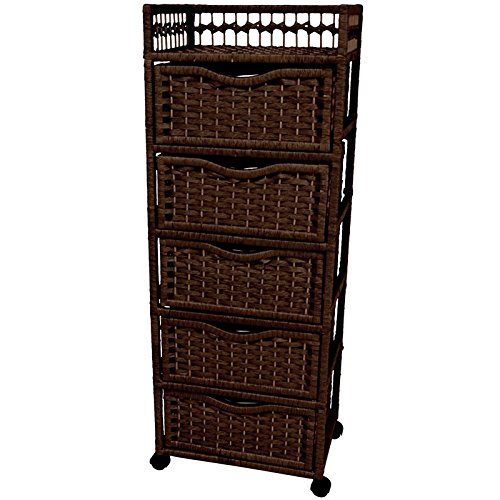 """Oriental Furniture 46"""" Natural Fiber Chest of Drawers on Wheels - Mocha"""