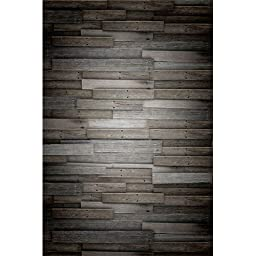 Photography Weathered Faux Wood Floor Drop Background Mat CF1254 Rubber Backing, 4\'x5\' High Quality Printing, Roll up for Easy Storage Photo Prop Carpet Mat