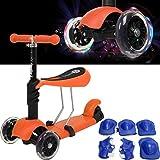 Fascol� Freestyle 3 Patinete de rueda para ni�os entre 2 y 7 a�os + + rodillera, ABEC-7 Cojinetes, Grandes ruedas de poliuretano [naranja]