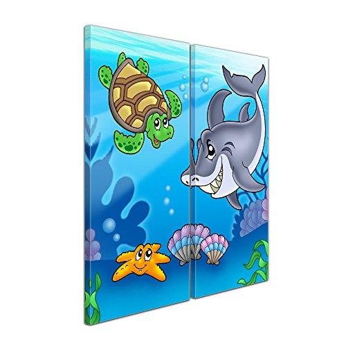 """Bilderdepot24 Leinwandbild """"Kinderbild Unterwasser Tiere"""" - 70x50 cm 1 teilig - fertig gerahmt, direkt vom Hersteller"""