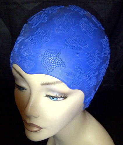 Ladies Navy Blue Swimming Bathing Cap Swim Hat Small Fitting Fashy Retro Vintage Style