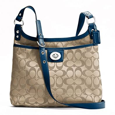 Coach Penelope Signature Sateen Hippie Bag - F19259(SV Khaki/Navy)