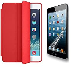 TOS Premium Smart Case Flip Cover and Screen Guard For iPad Air 2 (Red)