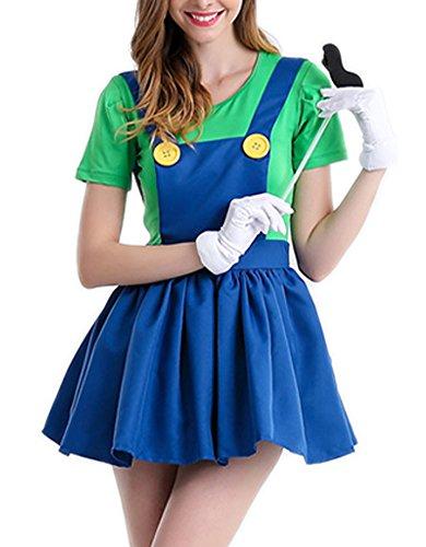 [RedExtend Girls Super Mario Cosplay & Halloween Costume Minidress] (Cocktail Honey Costumes)