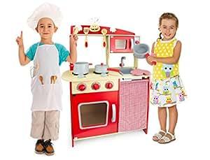 ... legno Cucina accessoriata per bambini: Amazon.it: Giochi e giocattoli