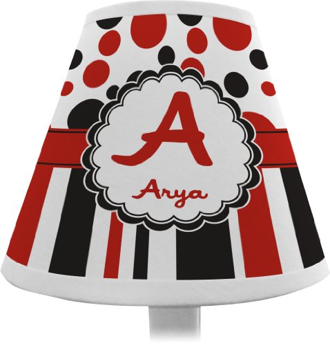 Red & Black Dots & Stripes Chandelier Lamp Shade (Personalized) front-1019105
