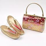振袖用草履バッグセット 市松に桜 赤・ゴールド 振袖用 結婚式 成人式 ランキングお取り寄せ
