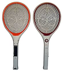 Solar Mosquito Killer Bat Repellent Rechargeable Electronic Racket Zapper Swatter Bug Insect FLY With Led Torch Charging Plug Output Voltage 2500V (Qty-1)