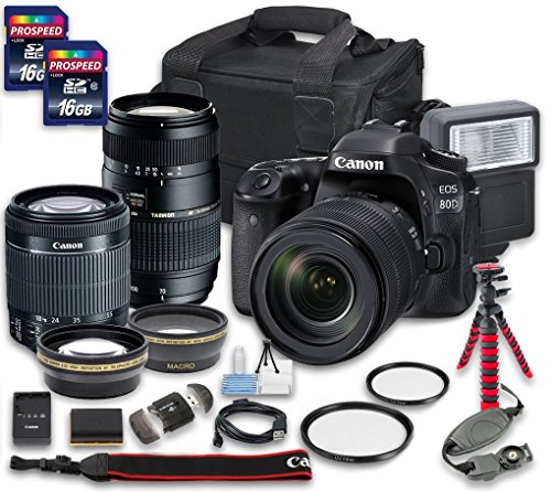 Canon EOS 80D DSLR Camera Bundle with Canon EF-S 18-55mm f/3.5-5.6 IS STM Lens + Tamron Zoom Telephoto AF 70-300mm f/4-5.6 Macro Autofocus Lens + 2 PC 16 GB Memory Card + Camera Case (Canon Powershot Sx40 Hs Manual compare prices)