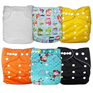 Besto Baby 6pcs Pack All In One Washable Fitted Pocket Cloth Diaper Nappies 6 Diaper Covers + 6 Inserts (Classic)