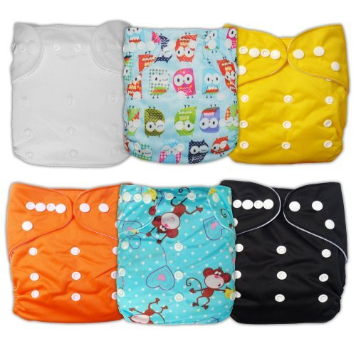 Besto Baby 6Pcs Pack All In One Washable Fitted Pocket Cloth Diaper Nappies 6 Diaper Covers + 6 Inserts (Boy Animal) back-751697