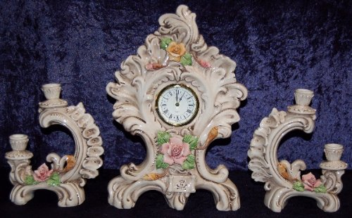 Authentic Hand Made Italian 16 X 10 Inches Table Clock 3 Pc Set with Candle Holder