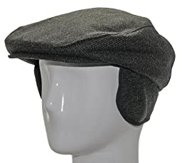 MALLARD EARFLAP Casual Brown Herringbone Wool Ivy Cap Hat Newsboy 7 1/8