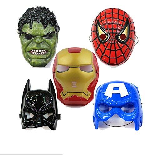 5pcs/lot,Spiderman Hulk Batman Captain America Ironman Avengers Face Mask Plastic Children Halloween Masquerade Party Toys