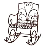 Collections Etc Extra Wide Outdoor Scroll Porch Patio Metal Rocking Chair