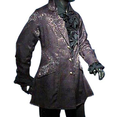 Victorian Gothic Medieval Mens Brocade Frock Coat, Black - XL