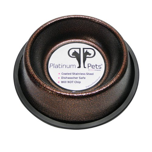 Platinum Pets 2 Cup Non-Embossed Non-Tip Dog Bowl, Copper Vein
