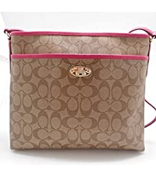 Coach Signature Coated Canvas File Bag in Khaki & Pink Ruby
