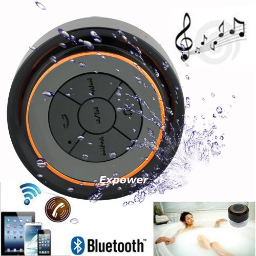 Expower(R) Ipx7 Waterproof Shockproof Wireless Bluetooth Stereo Speaker For Outdoor Excise And Shower (Black+Orange)