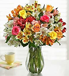 Assorted Roses & Peruvian Lilies with Clear Vase by 1-800 Flowers