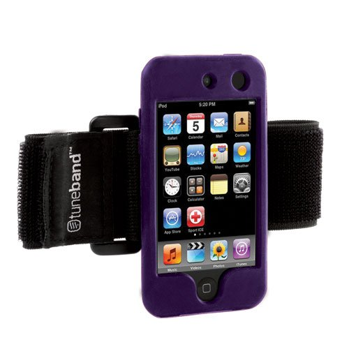 Tuneband For Ipod Touch 4Th Generation (Model A1367, 8Gb/16Gb/32Gb/64Gb), Grantwood Technology'S Armband, Silicone Skin, And Screen Protector, Purple front-340380