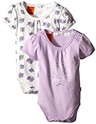 Pumpkin Patch Baby Girls' Floral Print and Pink 2 Pack Bodysuits, Vanilla, 0-3 Months