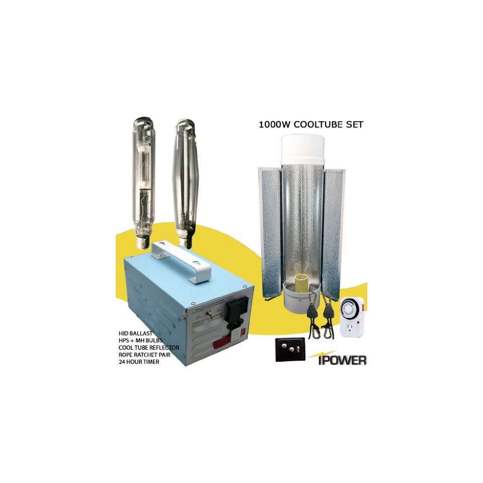 1000w Super HPS MH Grow Light System with Cooltube Reflector. Best 1000 watt hydroponic grow light set. 1000w Ballast, Super High Pressure Sodium, Metal Halide, 6 Air Cooled Tube, Rope Ratchet and Timer kit. Compare with Hydrofarm and Sun Light