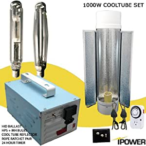 "1000w Super HPS MH Grow Light System with Cooltube Reflector. Best 1000 watt hydroponic grow light set. 1000w Ballast, Super High Pressure Sodium, Metal Halide, 6"" Air Cooled Tube, Rope Ratchet and Timer kit. Compare with Hydrofarm and Sun Light"