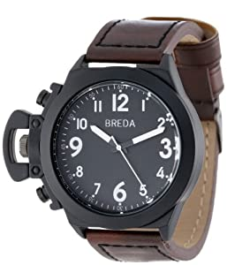 Breda Men's 8170-Black/Brown Joseph Oversized Unique Case Faux Leather Band Watch