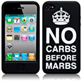 "IPHONE 4 / IPHONE 4S ""NO CARBS BEFORE MARBS"" LASERED SILICONE SKIN CASE / COVER / SHELL - BLACK/WHITE PART OF THE QUBITS ACCESSORIES RANGE"