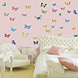 Colorful Vivid Vibrant Butterflies - Reusable Easy Instant Decoration Wall Sticker Decal Peel & Stick