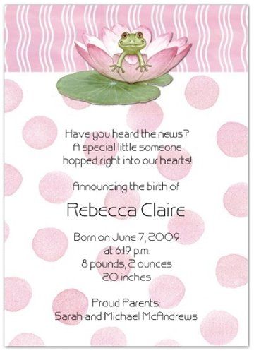 Lily Pad on Pink Birth Announcements - Set of 20