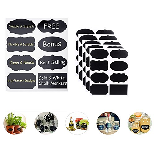 BSL Handwritten Message Labels Chalkboard Labels Blackboard Sticker Craft Kitchen Jar Organizer with Highlighter Aqueous for Mason Jars, Wine Glasses,Sauce jar and More Black(5 Sheet 40PCS) (The Five Sauces compare prices)